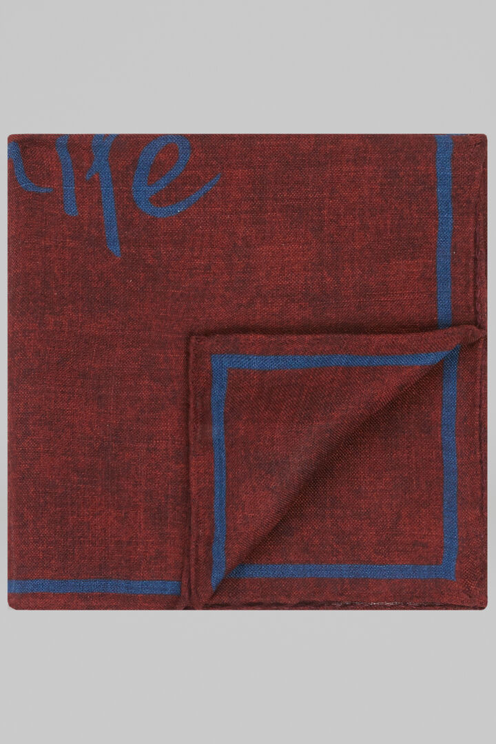 Wool/Silk Smile Pocket Square, Burnt, hi-res