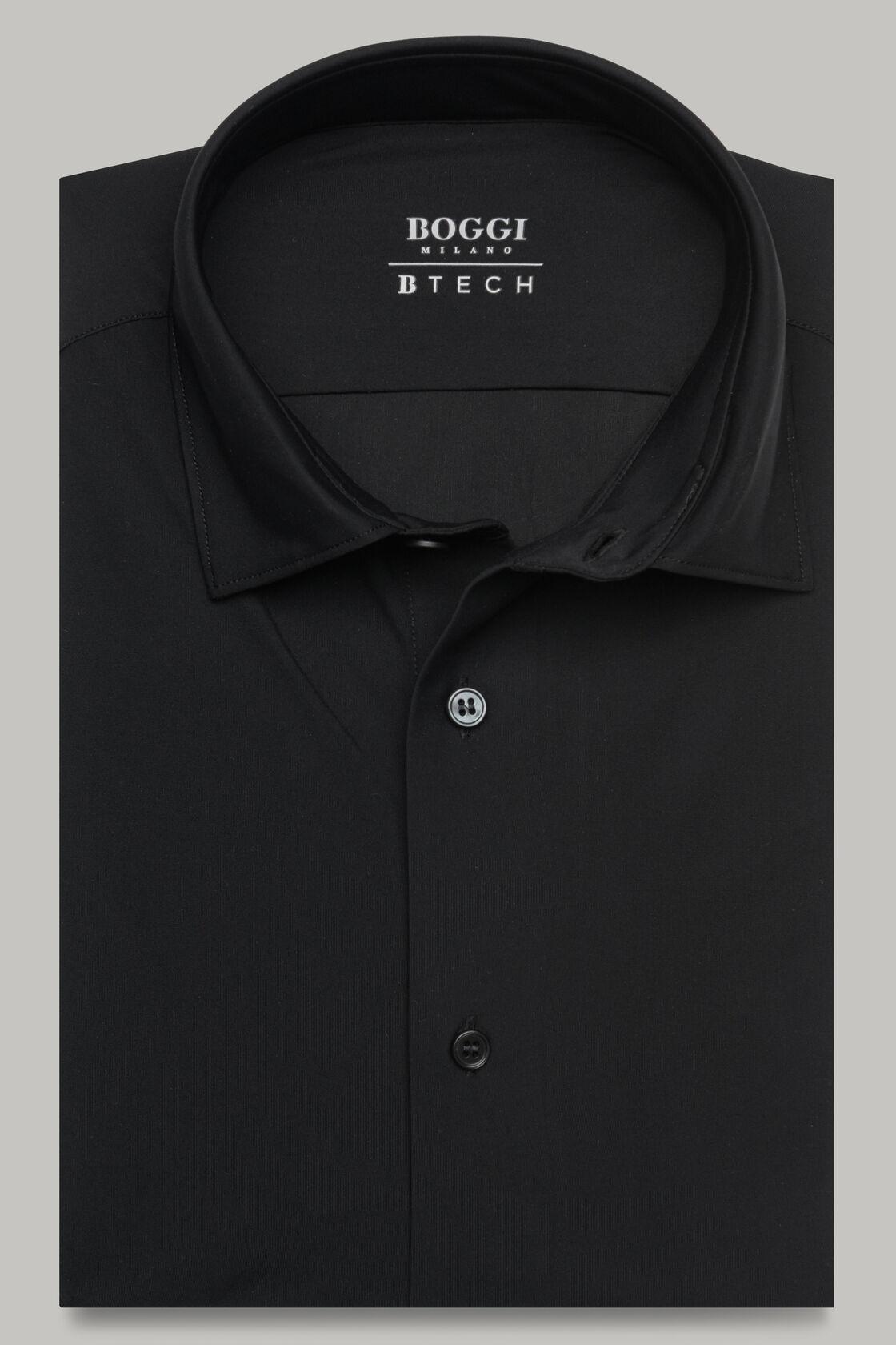 Schwarzes hemd mit tokyo- kragen aus elastischem nylon slim fit, Schwarz, hi-res