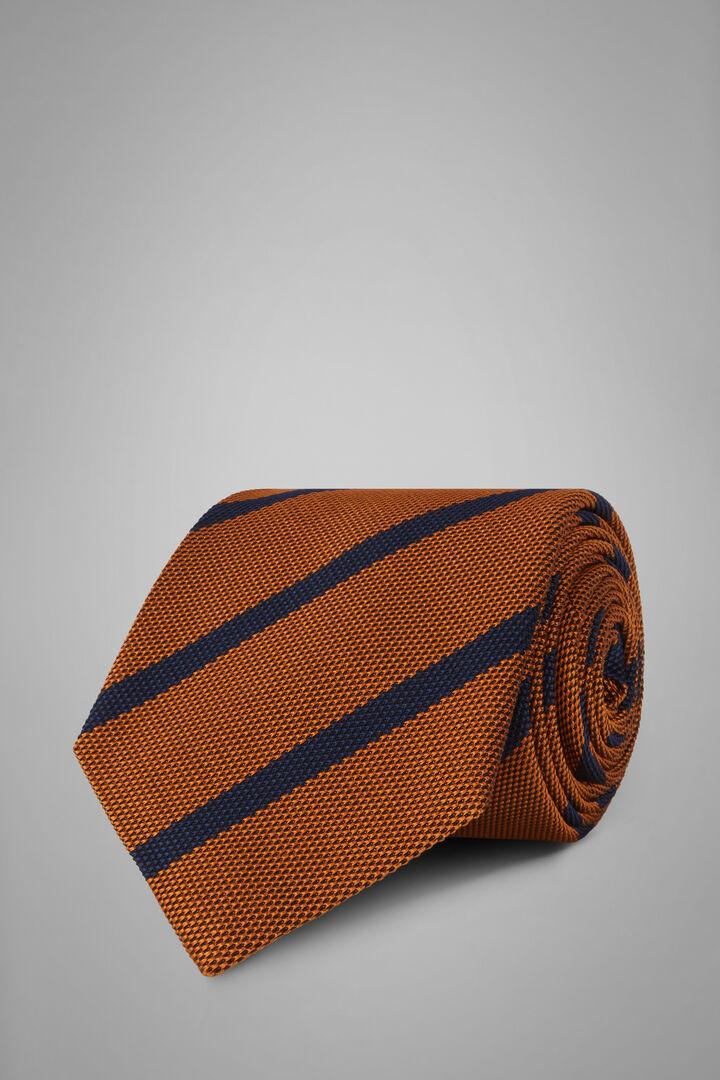 Cravatta Regimental In Seta Cotone Jacquard, Arancione - Blu, hi-res