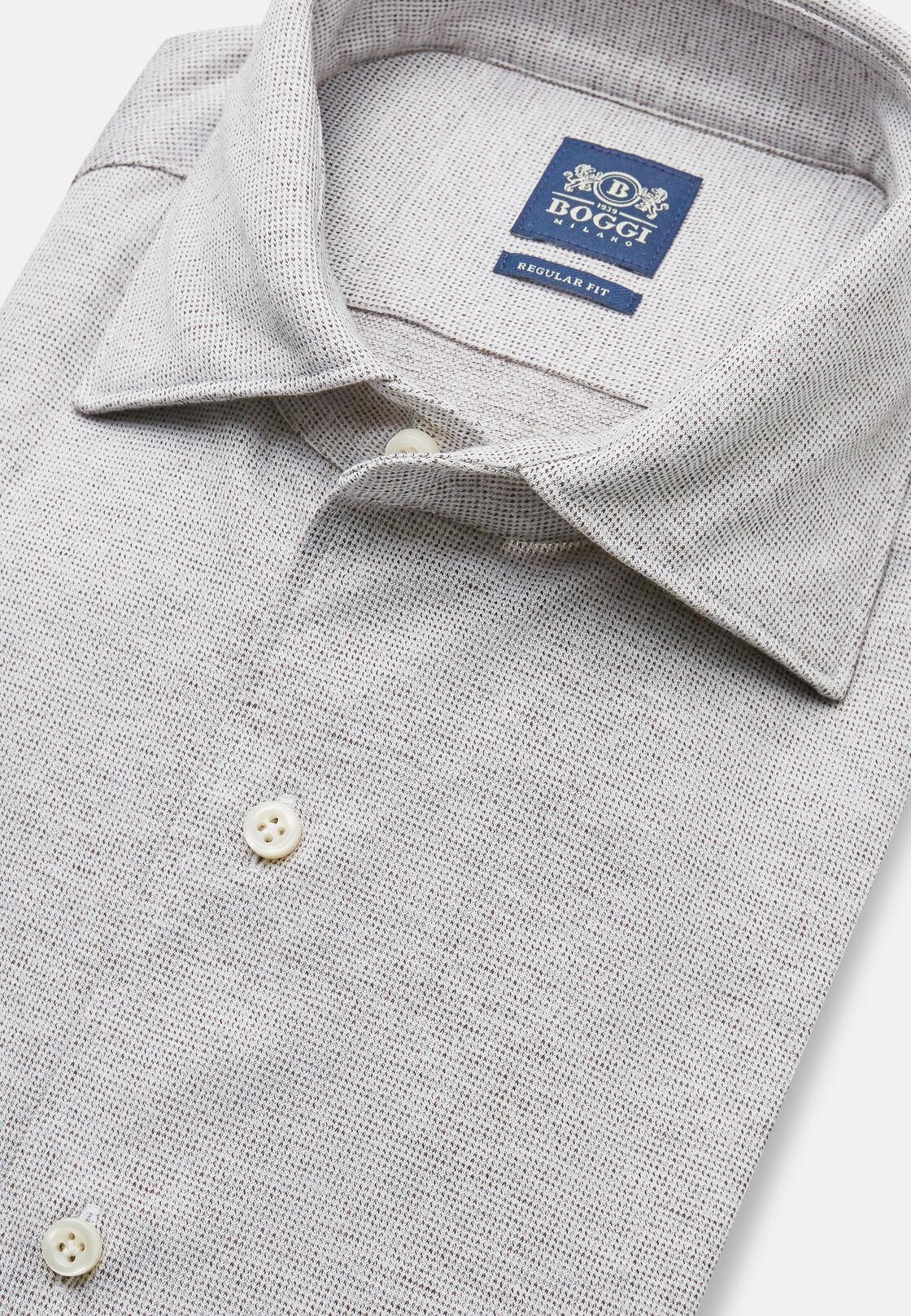 Polohemd aus baumwolljersey mit mikromuster, Taupe, hi-res