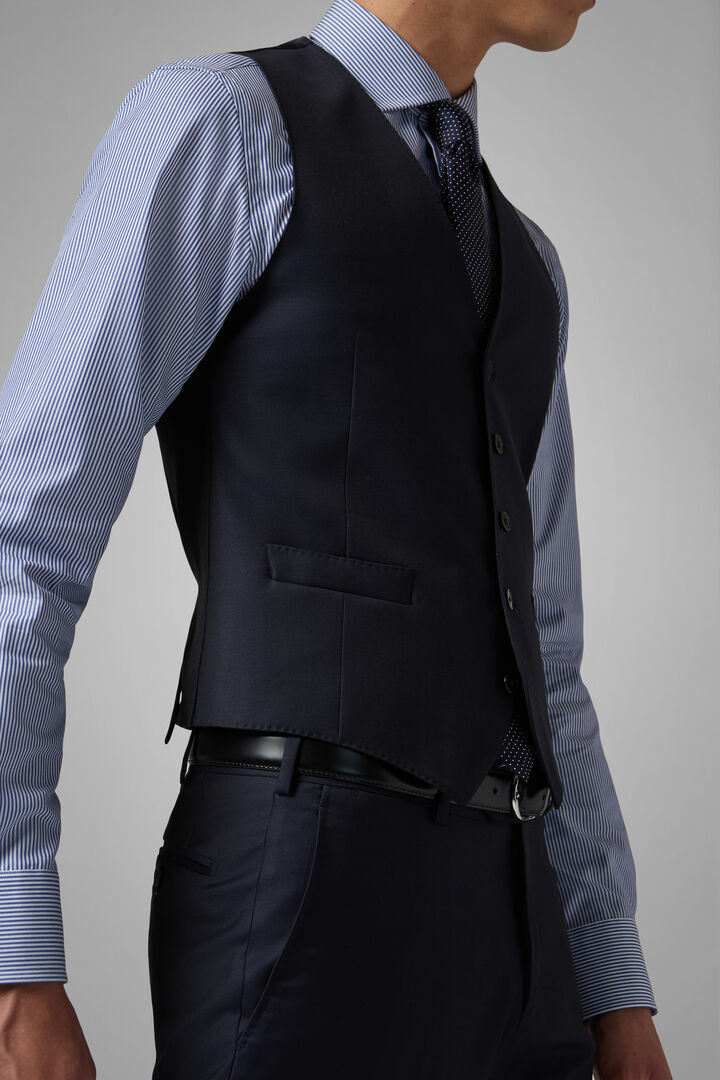 Regular Fit Navy Wool Suit Waistcoat, Navy blue, hi-res