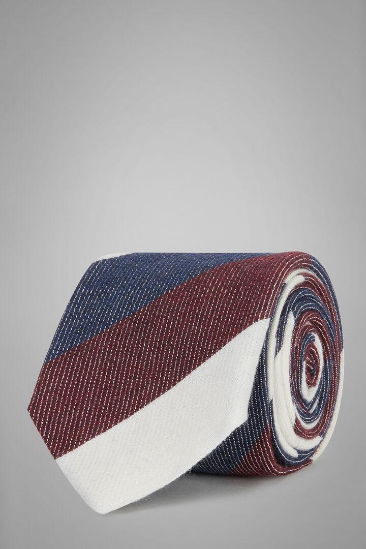 Cravate Regimental En Laine Et Bourrette De Soie, Bleu - Bourgogne, hi-res