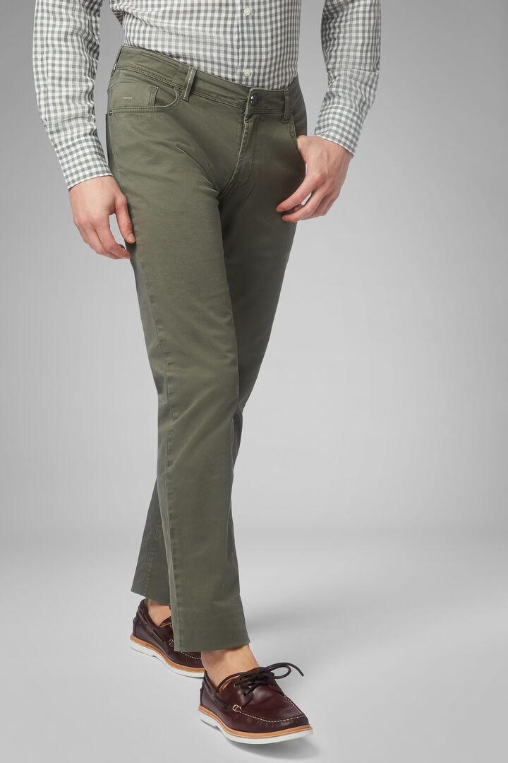 Regular Fit Stretch Cotton 5 Pocket Trousers, Kaki, hi-res