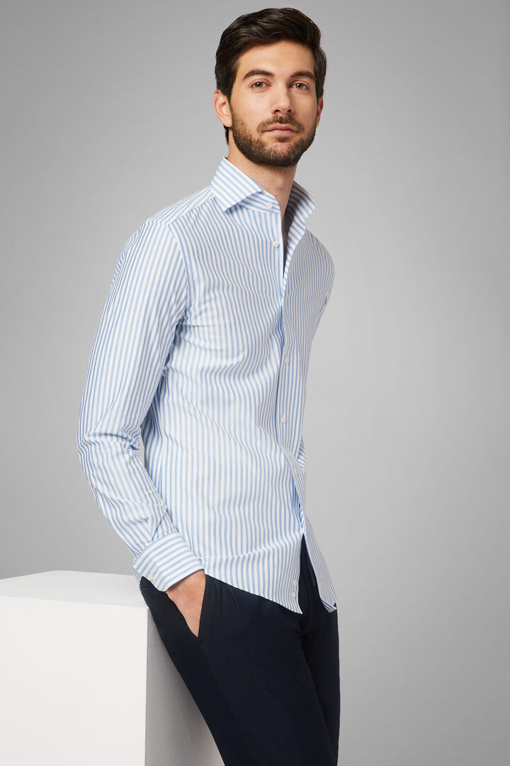 Regular Fit Sky Blue Striped Shirt With Cuban Collar, White - Light blue, hi-res