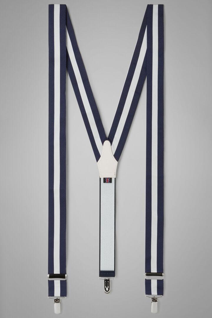 Stiff Band Motif Braces, Navy - White, hi-res