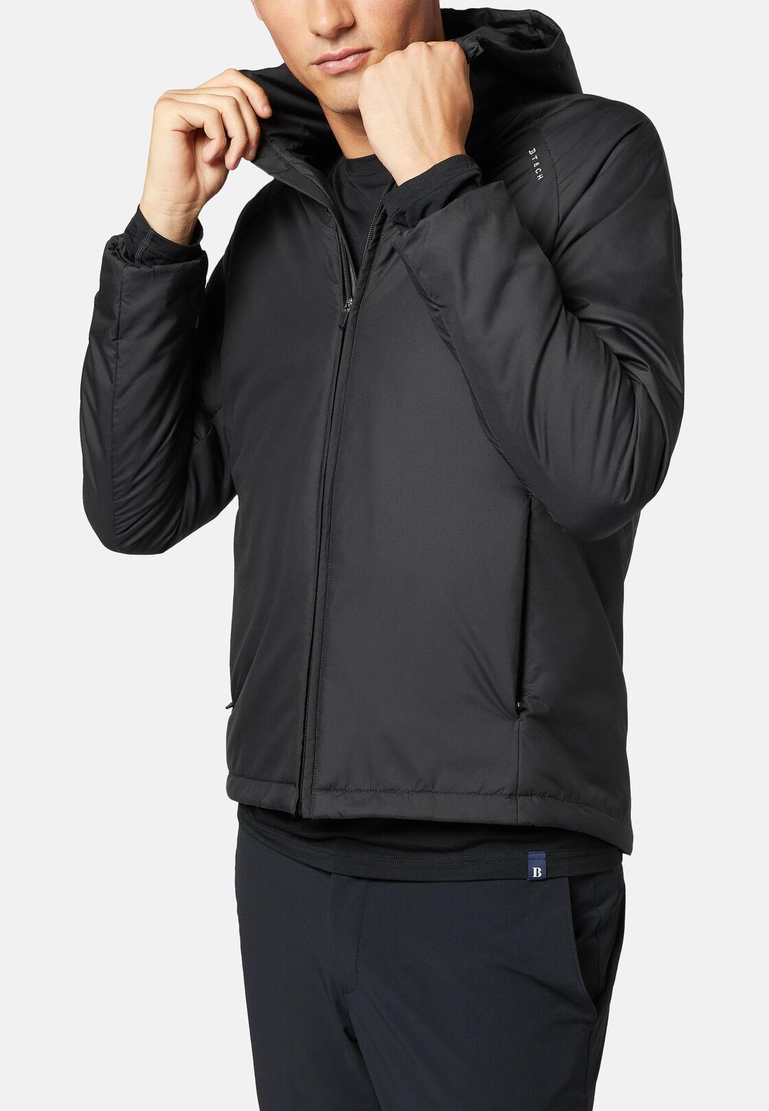 Alpha recycled fabric padded bomber jacket, Black, hi-res