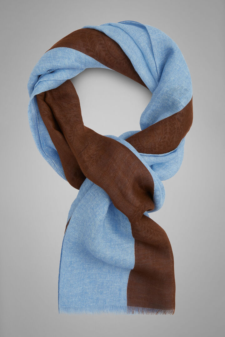 Bufanda De Lino Y Algodón Con Estampado De Cachemir, Luz azul - Blue, hi-res