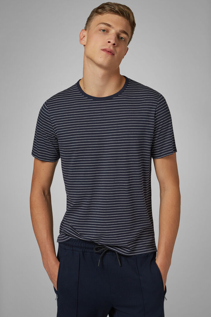 Navy Cotton/Tencel Jersey T-Shirt, Navy blue, hi-res
