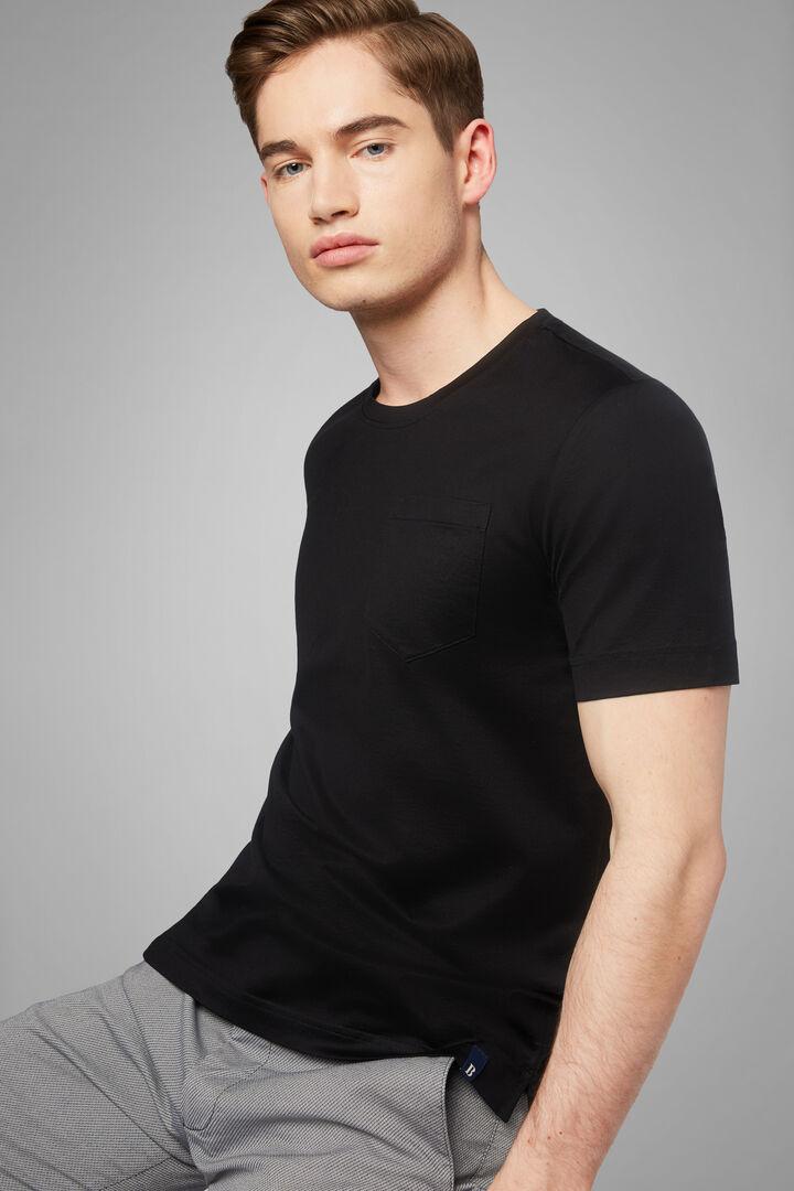 Black Cotton Jersey T-Shirt, Black, hi-res