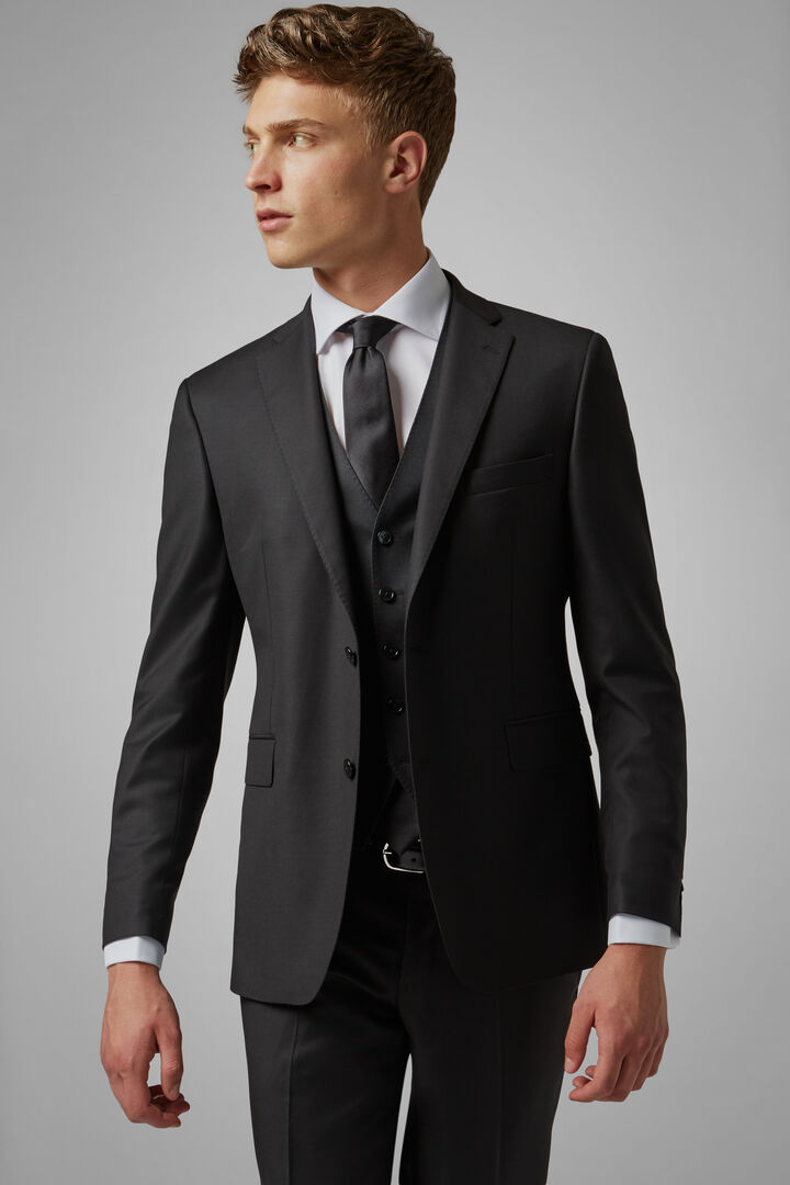 Charcoal Grey Wool Berlino Suit Jacket, Charcoal, hi-res