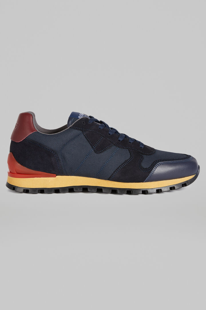 Leather And Nylon Running Trainers, Navy - Burgundy, hi-res