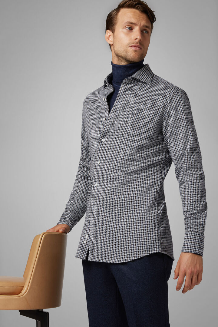Polo Camicia Blu-Moro Collo Chiuso Regular Fit, Blu - Moro, hi-res