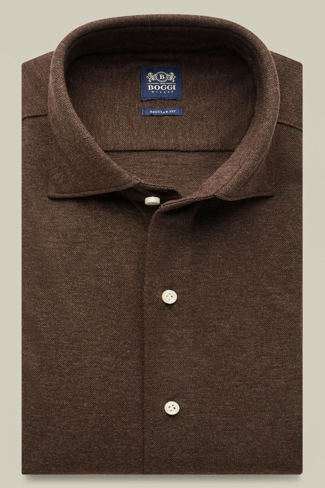 Polo camicia in piquet di cotone regular fit, Moro, hi-res