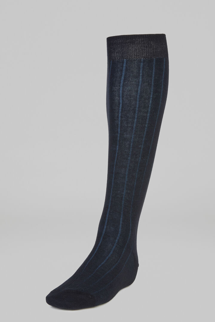 Ribbed Marl Long Socks, Blue - Bluette, hi-res