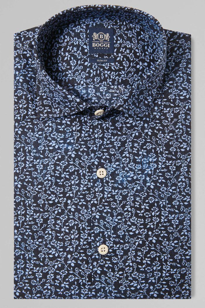 SLIM FIT BLUE FLORAL PRINT SHIRT WITH CLOSED COLLAR, , hi-res