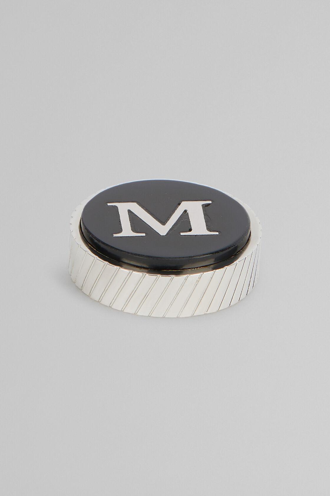 Gemello In Metallo Lettera M, Nero, hi-res