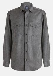 Graues over-hemd aus flanell, Grau, hi-res