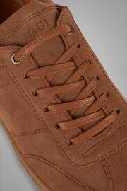 Sneakers In Pelle Scamosciata Fondo Lavorato, Cuoio, hi-res