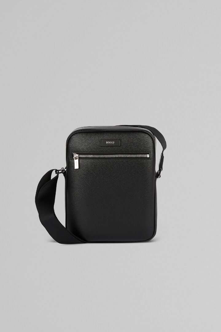 Leather North South Crossbody Bag, Black, hi-res