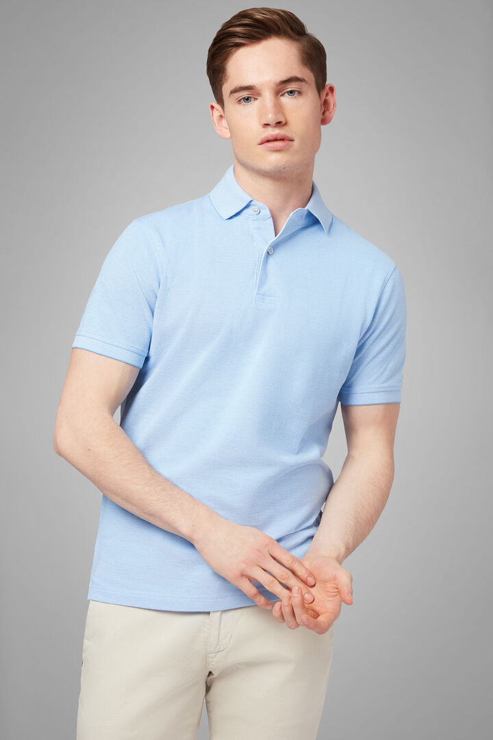 Polo Azzurra In Pique Di Cotone, Azzurro, hi-res