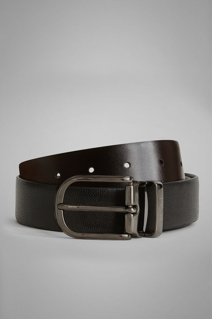 Reversible Caviar Leather Belt, Black - Dark brown, hi-res
