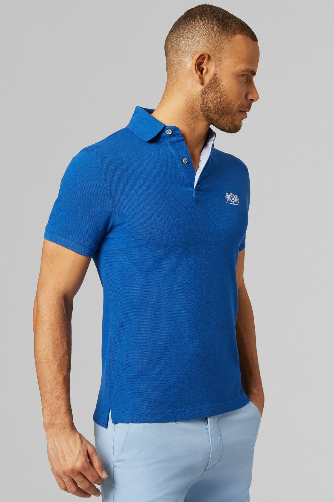 POLO BLUETTE IN COTONE PIQUET, BLUETTE, hi-res