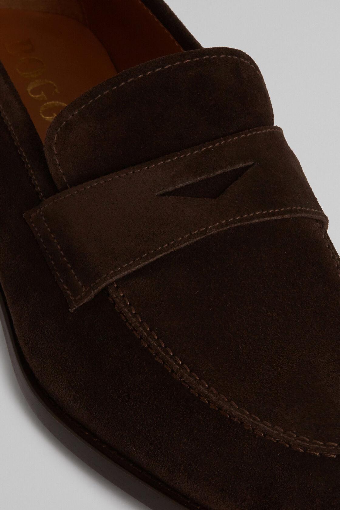 Suede Penny Loafers, Dark brown, hi-res