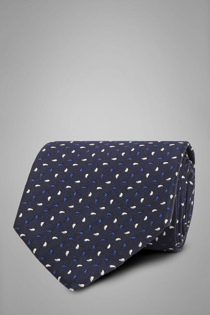 Gemusterte Krawatte Aus Seidenjacquard, Blau - Dunkelbraun, hi-res