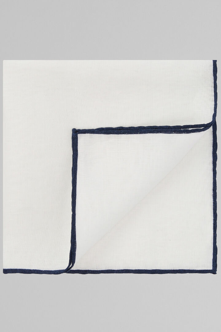 White Pure Linen Pocket Square With Blue Border, White - Blue, hi-res