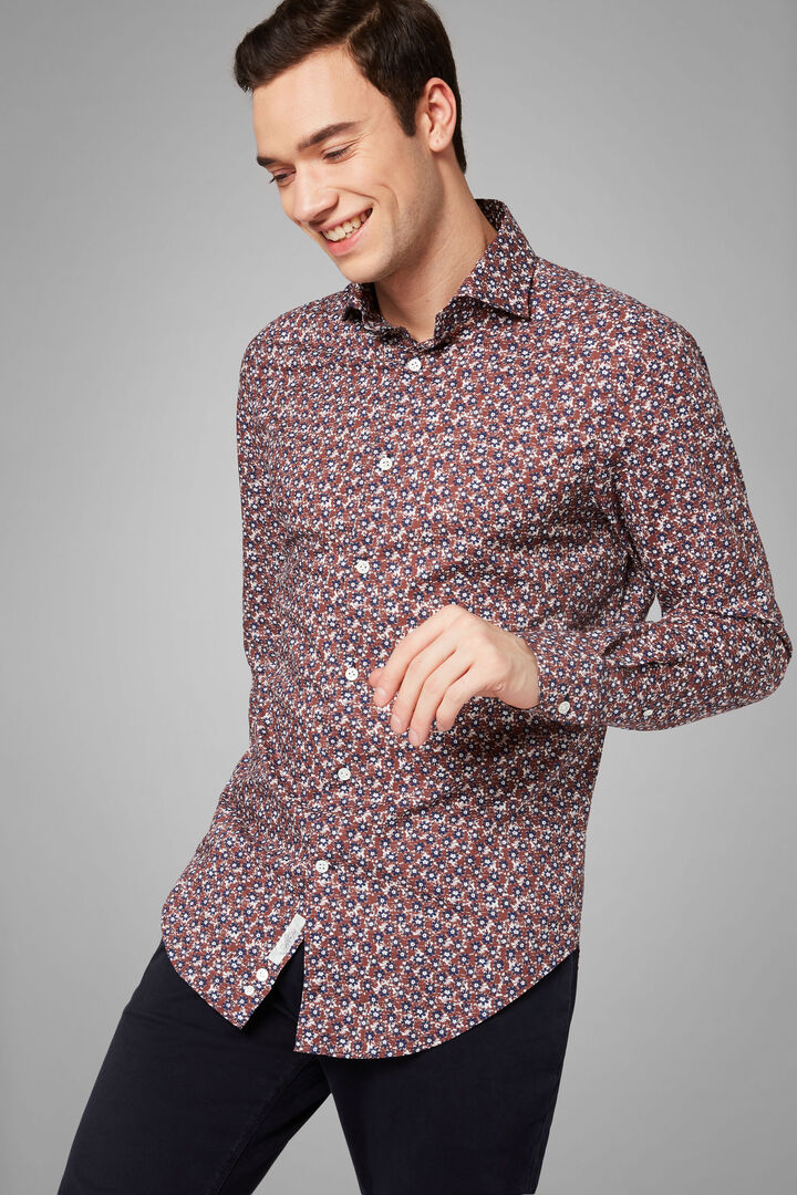 Slim Fit Moro Blue Floral Print Shirt With Florence Collar, Dark brown - Blue, hi-res