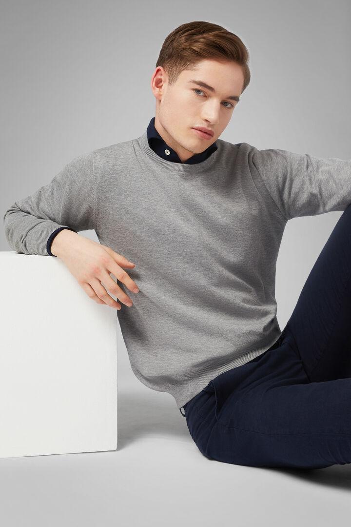 Pullover Mit Rundhalsausschnitt Aus Pima-Baumwolle, Grau, hi-res