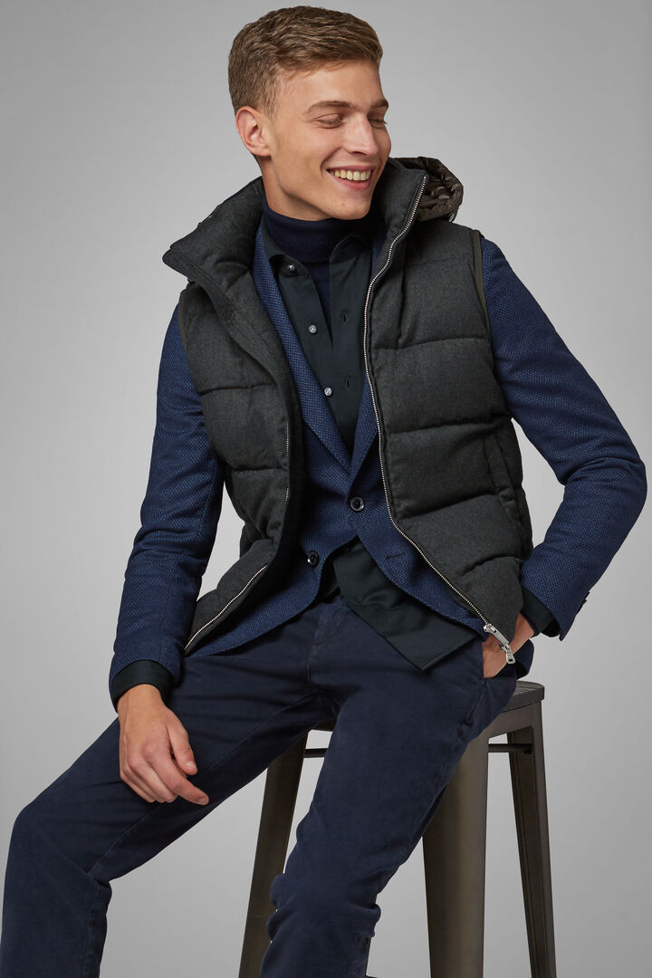 Sleeveless Wool And Nylon Jacket With Hood, Green, hi-res