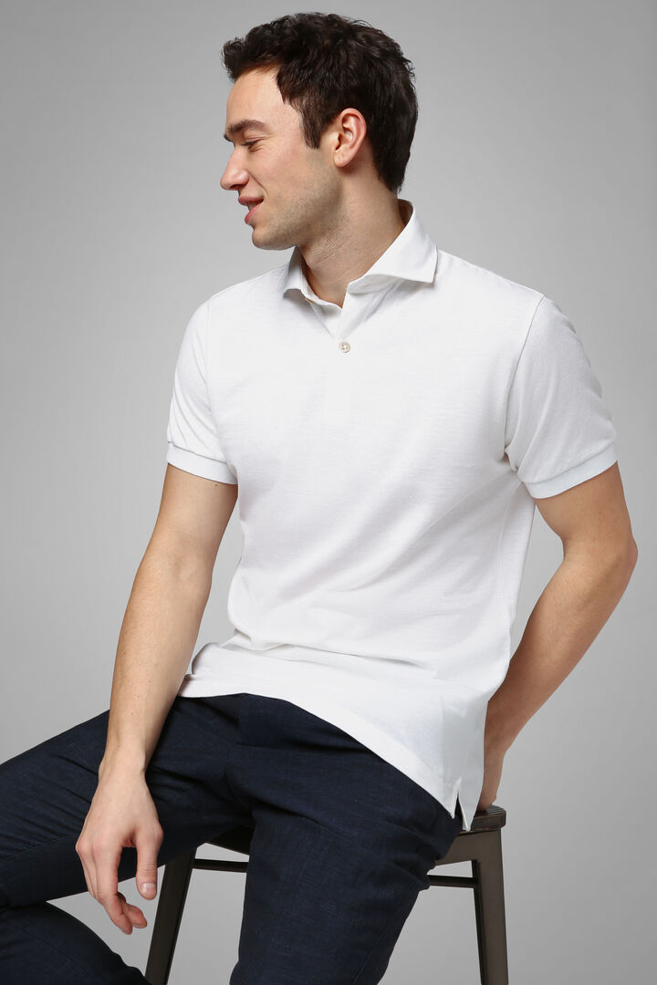 White Slub Cotton/Linen Piqué Polo Shirt, White, hi-res