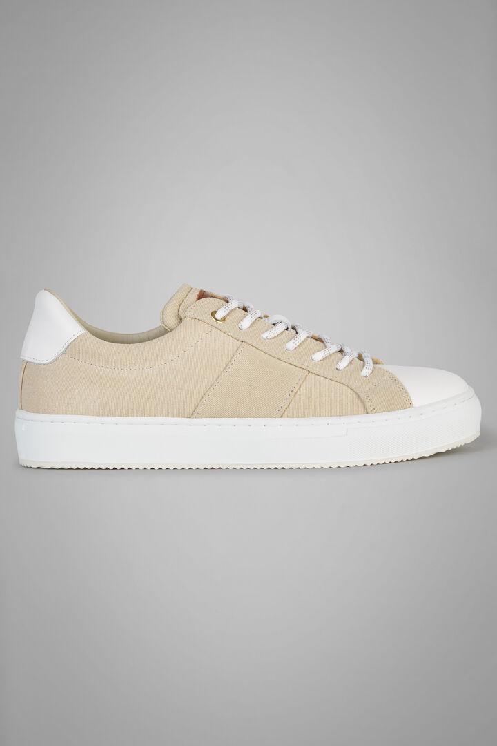 Sneaker In Canvas Con Dettagli In Pelle, Naturale, hi-res
