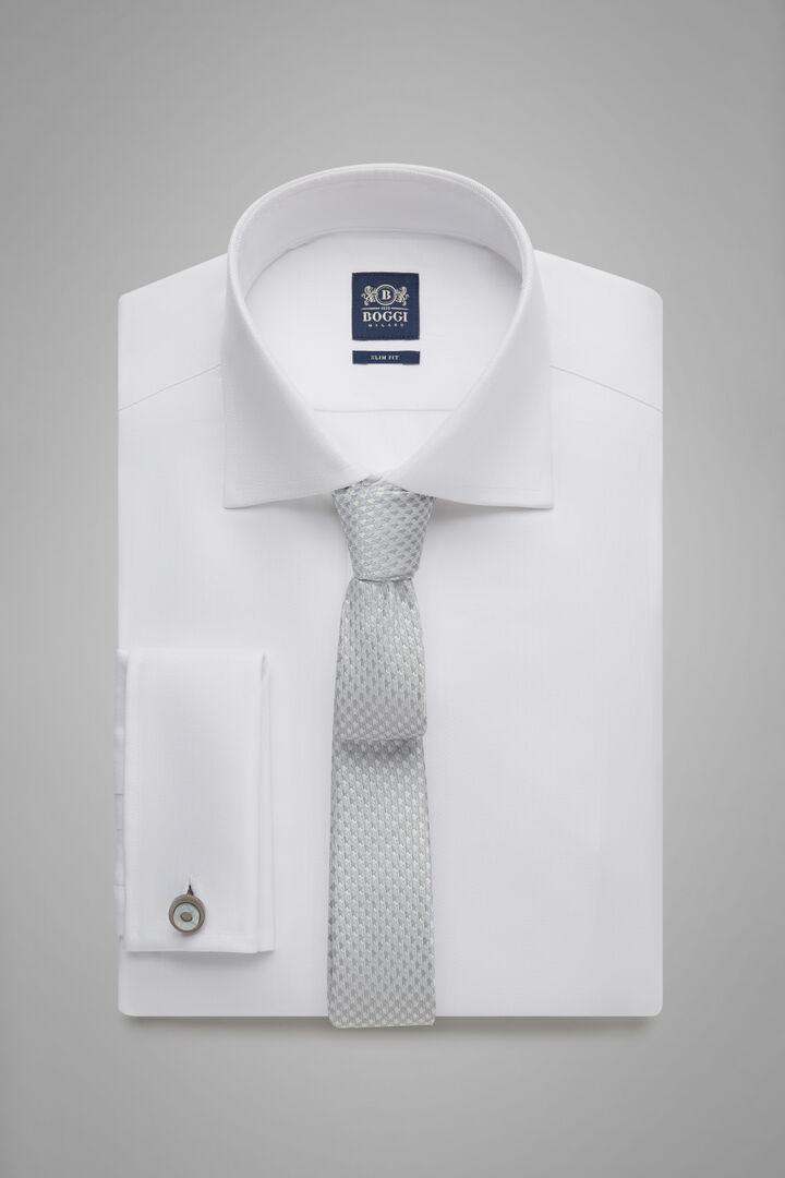 Hemd Weiss Mit Windsor-Kragen Und Doppelknopf-Manschette Slim Fit, Weiß, hi-res