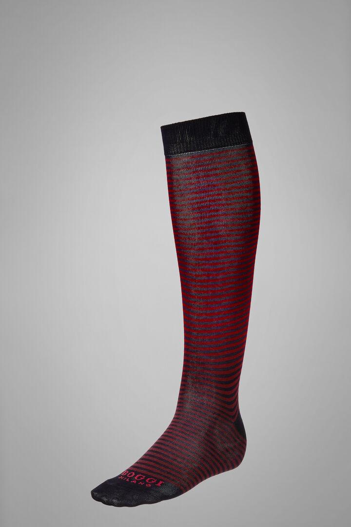 Long Socks With Striped Motif, Navy - Burgundy, hi-res