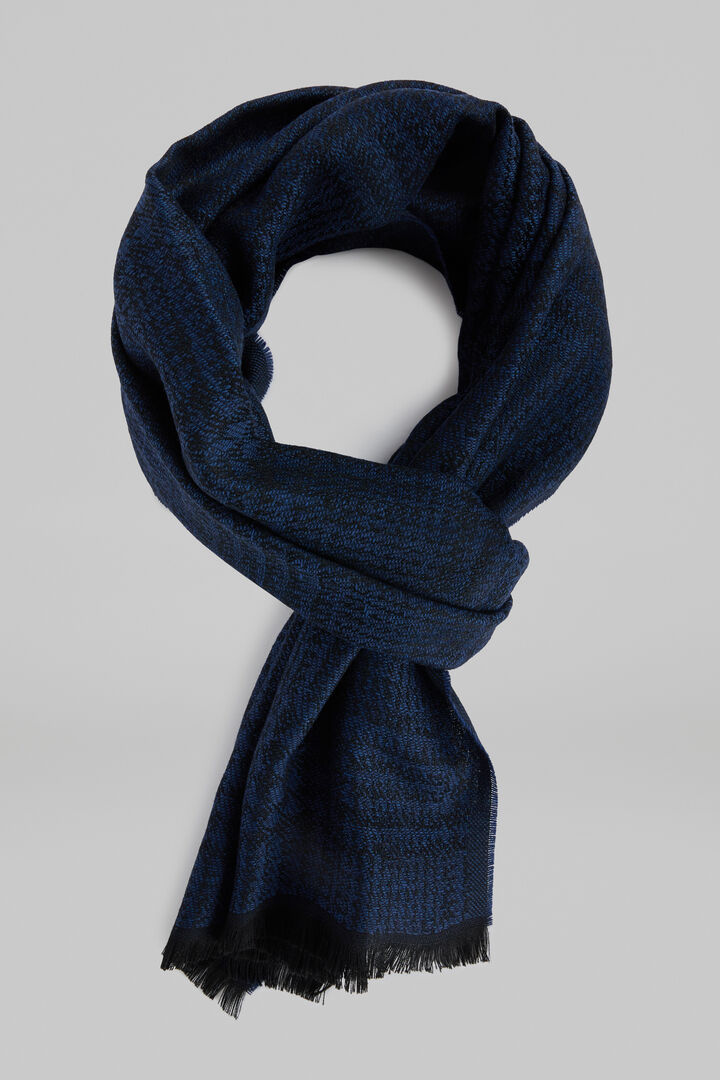 Macro Prince Of Wales Check Wool Jacquard Scarf, Navy blue, hi-res