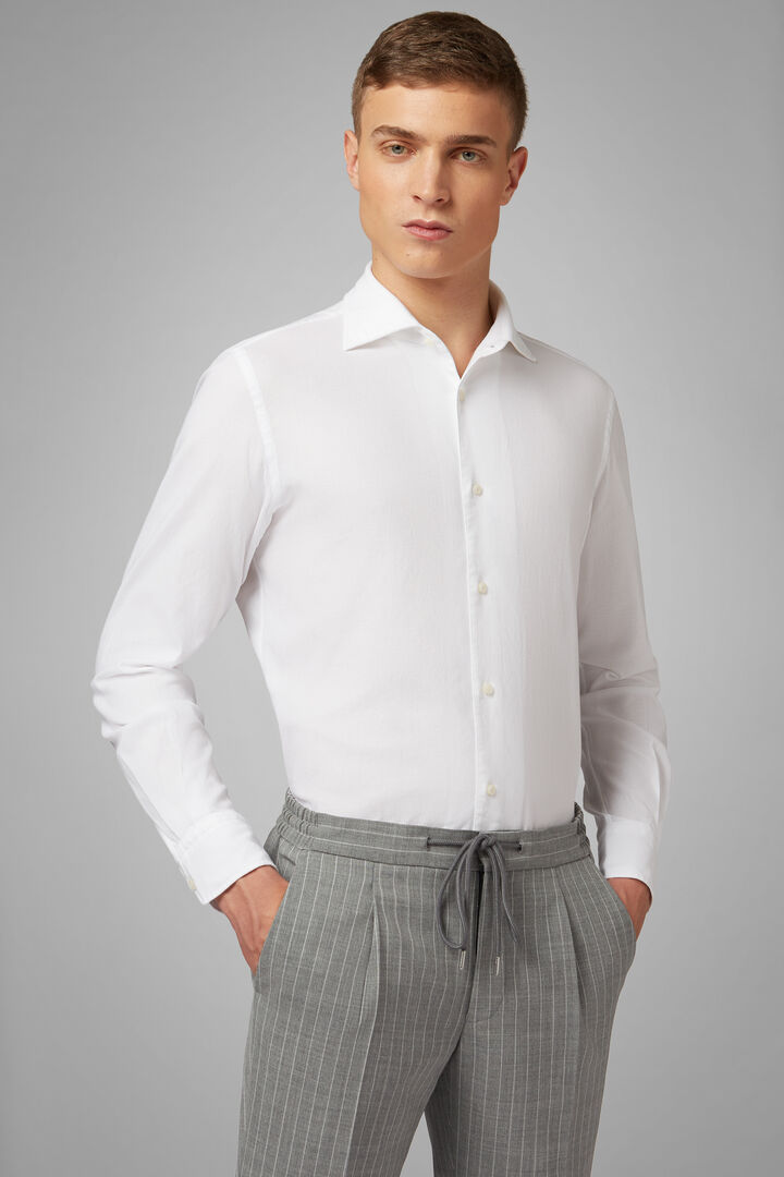 Regular Fit White Shirt With Cuban Collar, White, hi-res
