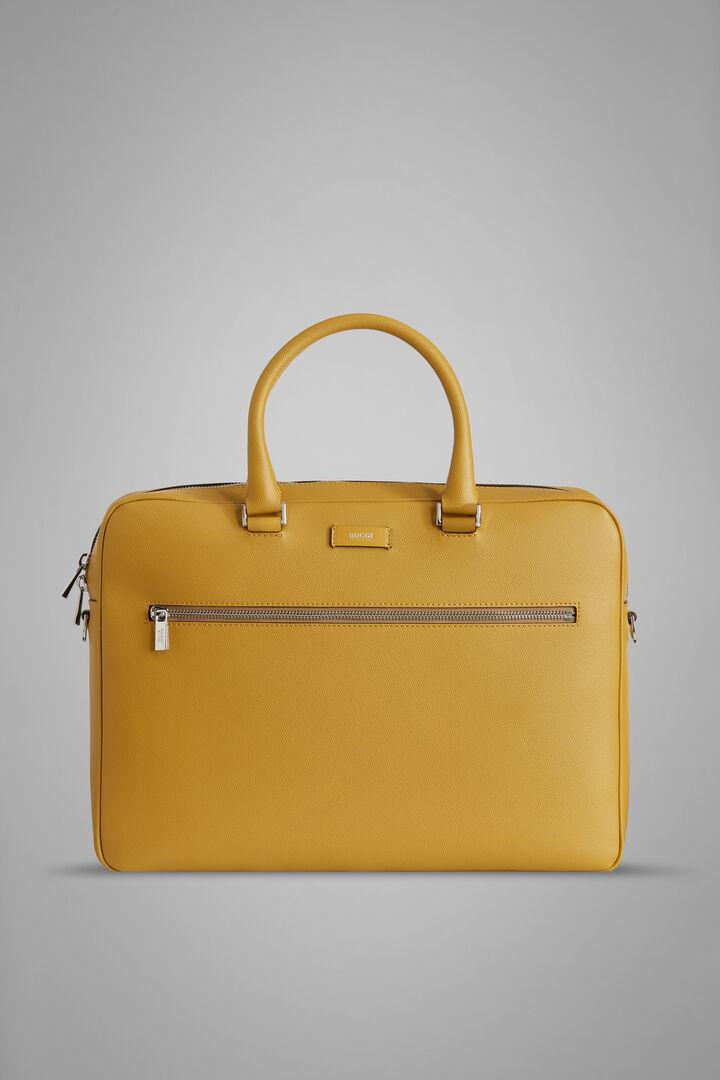Caviar Leather Single-Zip Briefcase, Mustard, hi-res