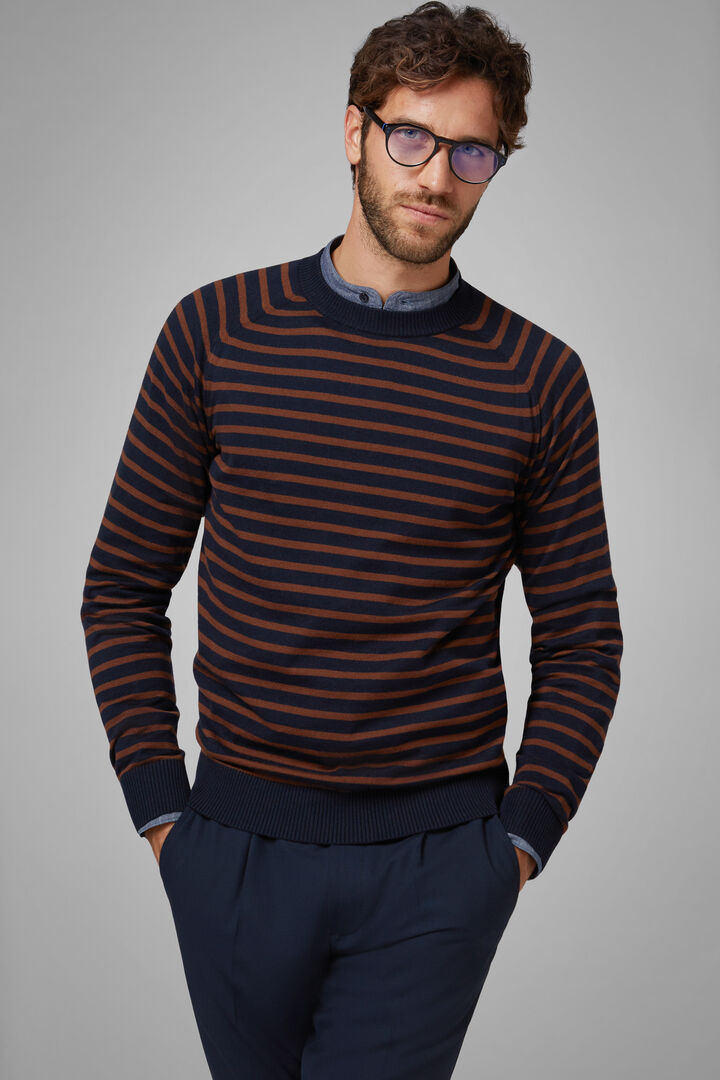Cotton Cashmere Round Neck Jumper, Navy blue, hi-res