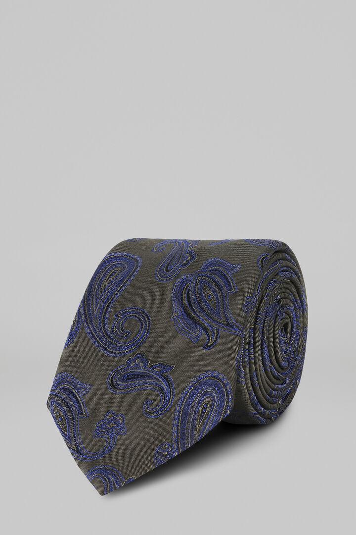 Cravatta Macro Paisley In Seta Jacquard, Verde, hi-res