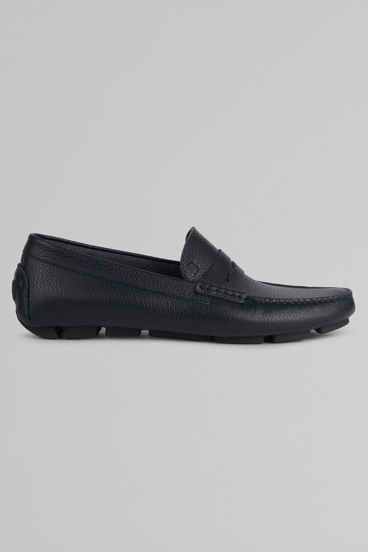 Tumbled Leather Loafers, Navy blue, hi-res