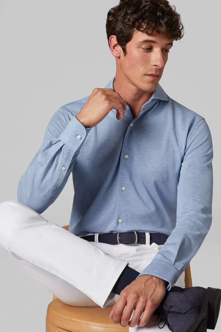 Regular Fit Sky Blue Casual Shirt With Open Collar, Light blue, hi-res