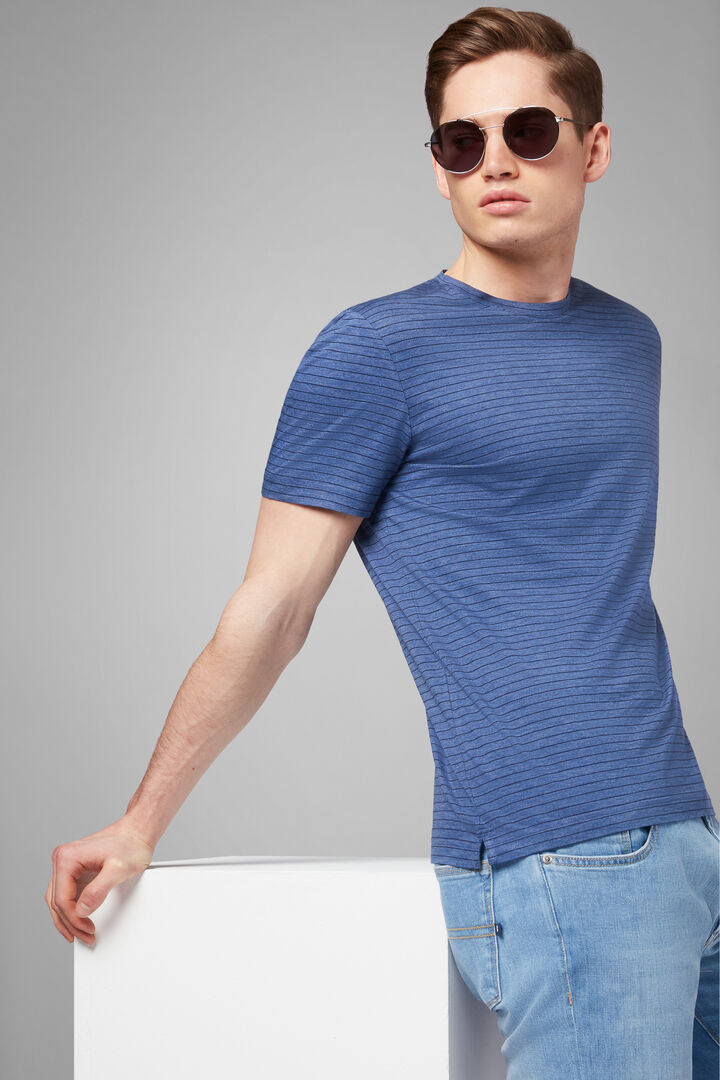T-Shirt Denim In Jersey Di Cotone Tencel, Denim, hi-res
