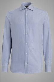 Chemise En Coton À Rayures Bleues Coupe Slim, Bleu, hi-res
