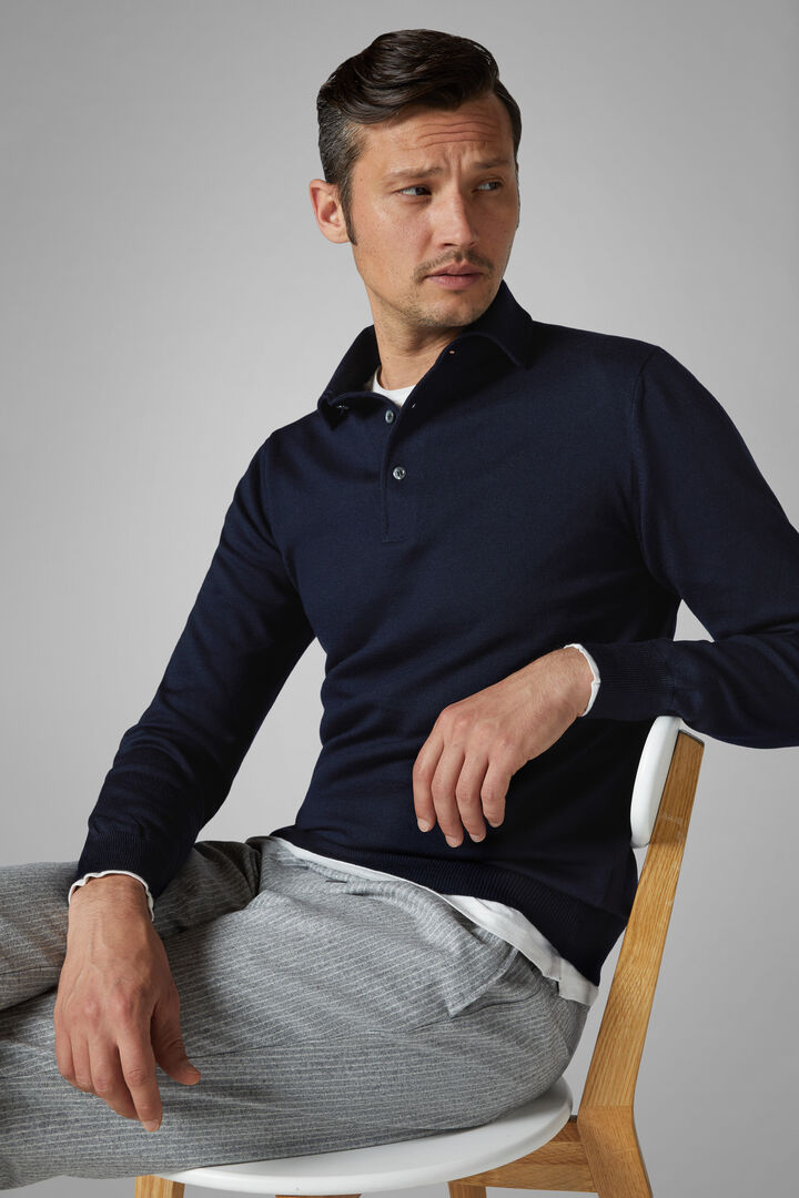 Knitted Extra Fine Merino Wool Polo Shirt, Navy blue, hi-res