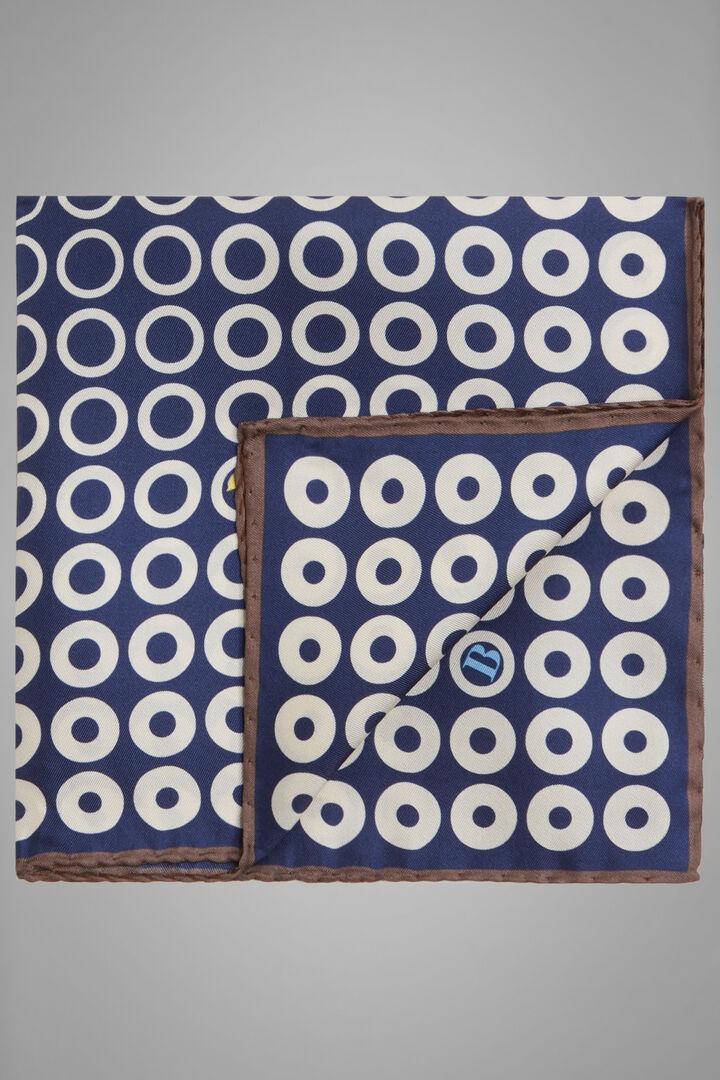 Pañuelo De Bolsillo De Seda Estampada Con El Logo De Boggi, Armada - Blanco, hi-res