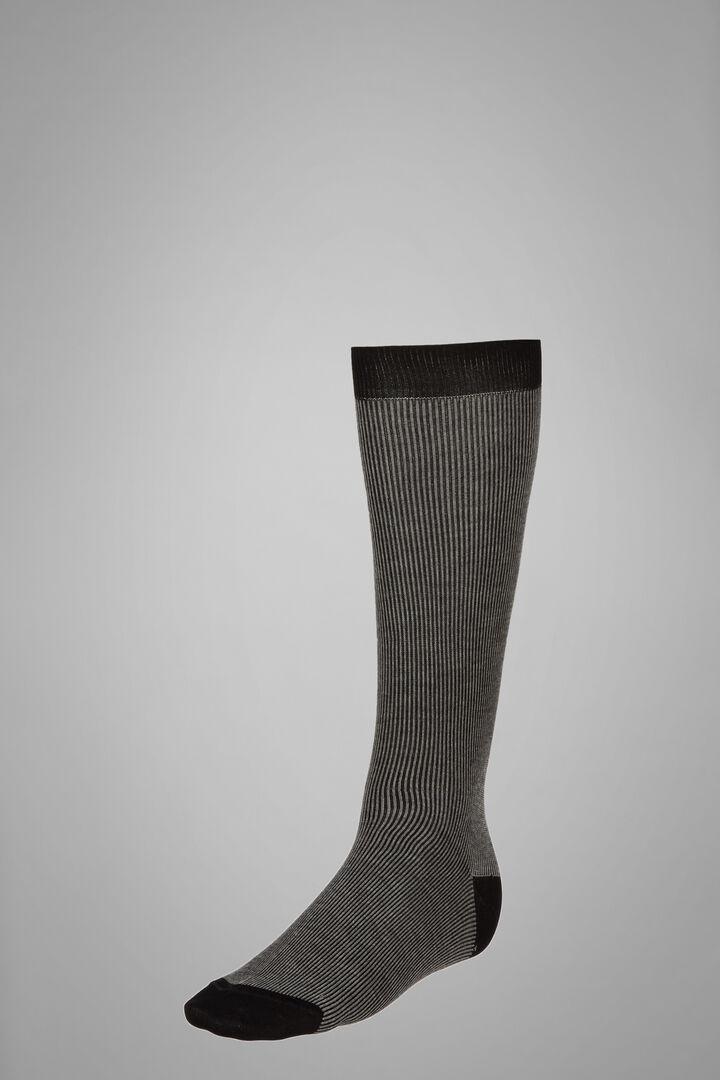 Long Socks With Narrow Striped Motif, Black - Grey, hi-res