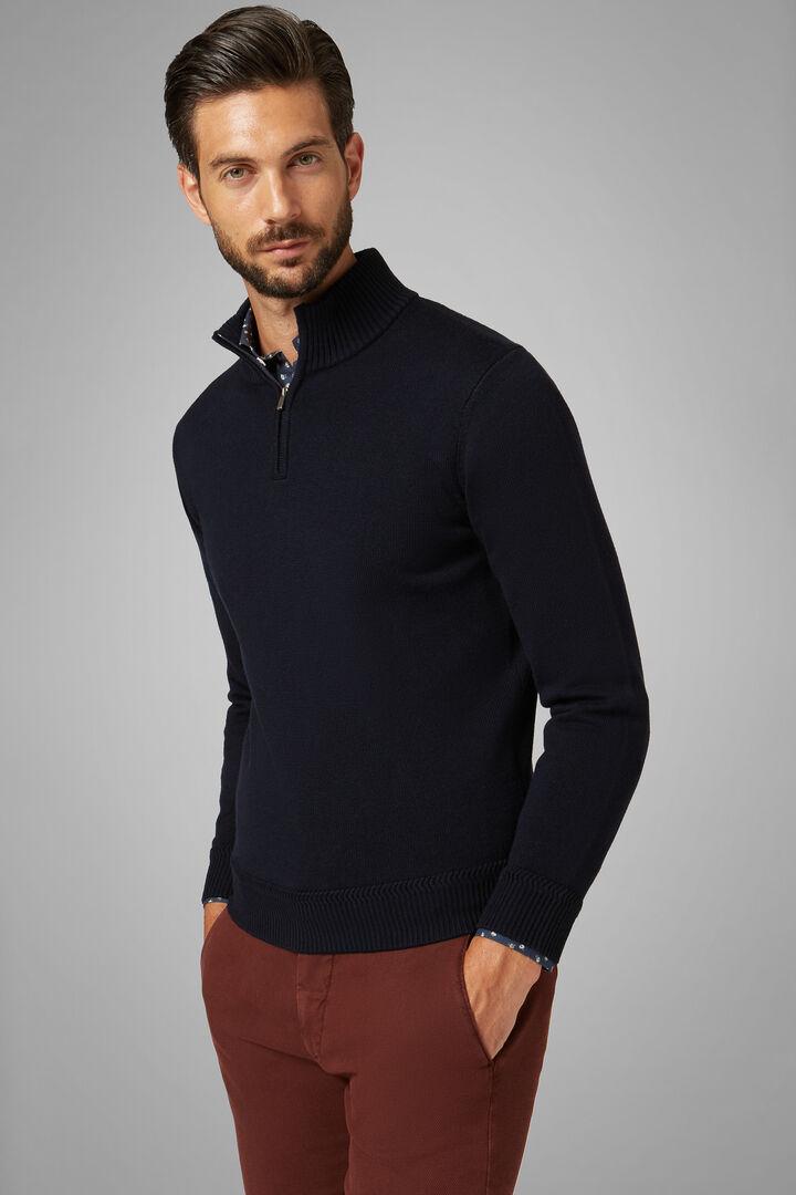 Merino Wool Zipped High Neck Jumper, Navy blue, hi-res