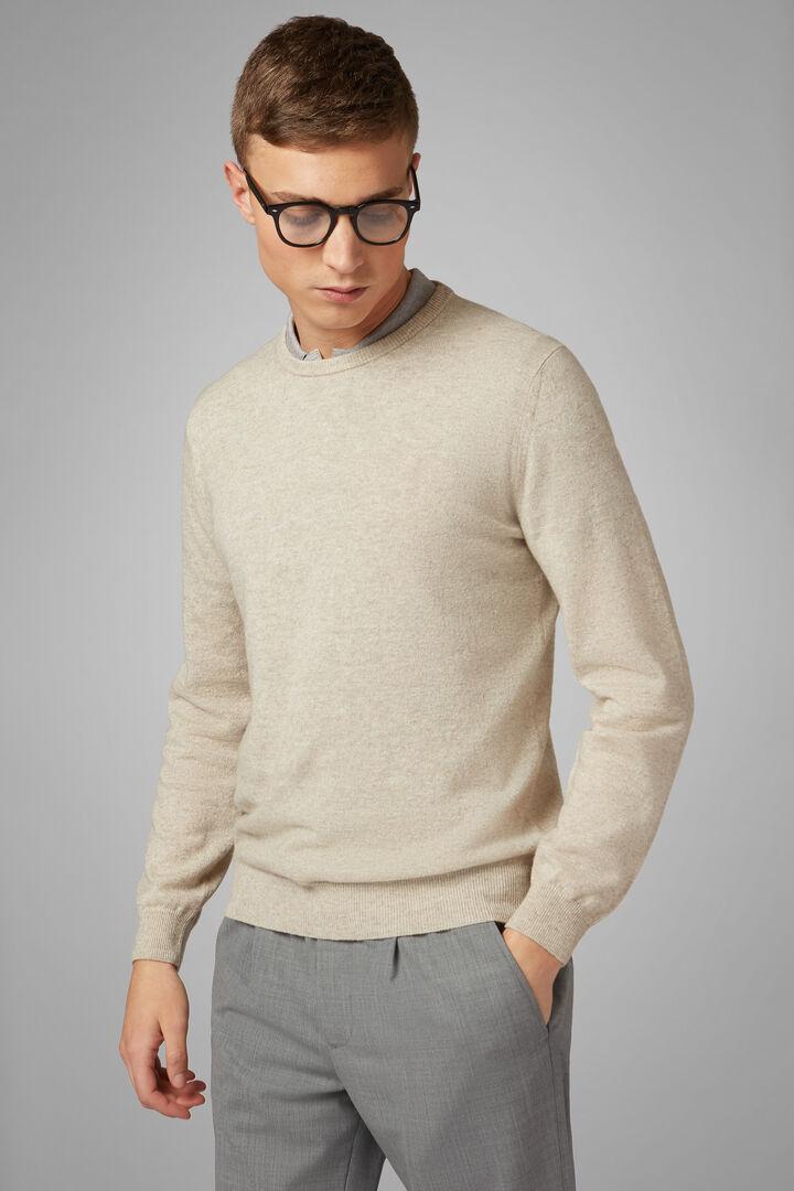 Linen & Cashmere Round Neck Jumper, Sand, hi-res